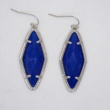 infeein jewelry silver plated blue resin diamond shape claw hoop drop earrings