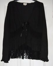 NEXT Black Cardigan, Cotton/Lace size 14. Long Sleeve.