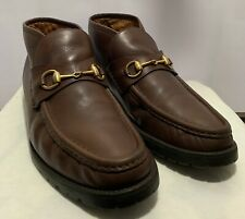 Authentic GUCCI Horsebit Marmont Web Men Brown Leather Loafer Ankle Boots