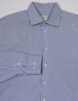 * ARMANI COLLEZIONI * Sky Blue Checkered Cotton Dress Shirt (41) 16-36/37