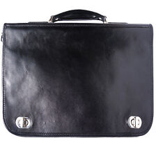 Business Briefcases Bag Italian Genuine Leather Hand made in Italy Florence 7607