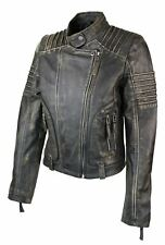 Womens Ladies Girls Soft Black Gold Real Leather Short Biker Style Jacket