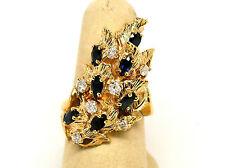 NEW Gorgeous 14K Gold Sapphire & Diamond 1.70 cts Leaf Ring  Sz 7.25 Rtl $4,500