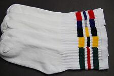 5Pair's Men's/Women's 9-11 Long Crew Socks,Cotton Athletic Socks White red green