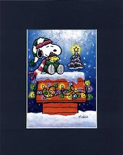 SNOOPY & WOODSTOCK~WAITING FOR SANTA~8 x 10 Mat Print~ONE BRIGHT NORTH STAR~NEW
