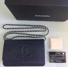 Auth CHANEL Timeless WOC Wallet  On Chain Caviar Leather Marine/Silver Chain