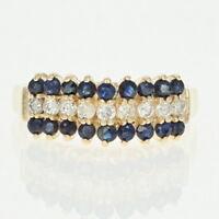 Tiered Sapphire & Diamond Ring - 14k Yellow Gold Round Brilliant .81ctw