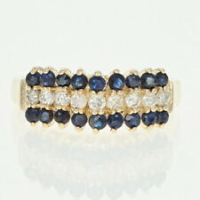 Tiered Sapphire & Diamond Ring - 14k Yellow Gold Round Brilliant .81ctw