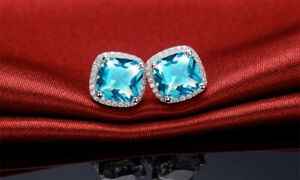 Cushion - Cut Blue & White Topaz Halo Stud Earrings 925 Stamped Sterling Silver