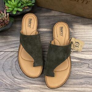 NIB Born Anthie Toe Loop Comfort Slide Sandal Green Suede 8M