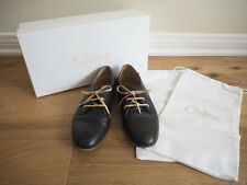 AUTHENTIC MSRP $675 CHLOE WOMEN BLACK LEATHER X GREEN OXFORD SHOES 35.5 US 5.5