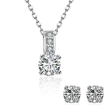 18K White Gold Plated Simulated Diamond Necklace + Free Stud made with Swarovski