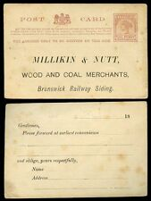 AUSTRALIA VICTORIA 1890 STATIONERY PRIVATE PRINT MILLIKIN + NUTT