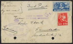 SOUTH AFRICA 1944 WWII ANDALUSIA INTERNMENT CAMP COVER CENSORED BOTH IN VIOLET