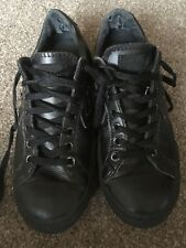 BOYS GIRLS JUNIOR BLACK LEATHER CONVERSE ALL STAR SIZE 4 PUMPS TRAINERS