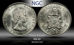 1964 BERMUDA CROWN NGC MS 65 SILVER FINEST KNOWN