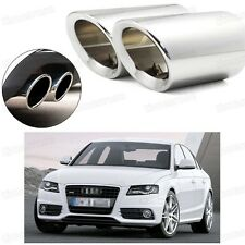 2Pcs Car Exhaust Muffler Tip Tail Pipe Trim Silver for Audi A4 2008-2015 #2030