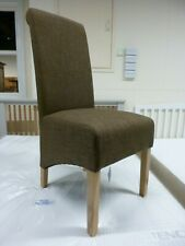 New 6 x Large Solid Oak & Cinnamon Brown Fabric Dining Chairs *Furniture Store*