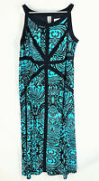 CATHERINES Maxi Dress SIze 1X Scoop Neck Black Teal Floral Sleeveless Stretch