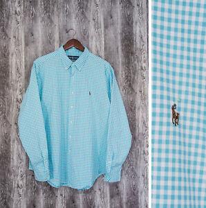 Ralph Lauren Blue Check Men's Top Casual Shirt Size XL