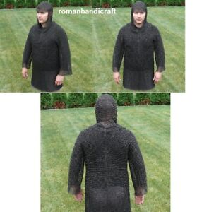Chain mail Shirt and Coif Head Hood Cover For Men Arming Wear Combo 9 mm 16g