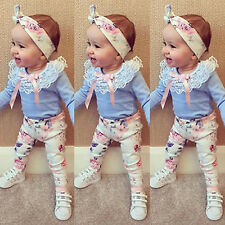 3Tlg Baby Outfits Mädchen Kinder T-shirt Top+Shorts Hosen Rock Sets Kleidung NEU