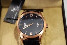 Lucien Piccard Watzmann Watch Black Genuine Leather & Dial Rose-Tone Dial