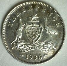 1936 Australia 3 Three Pence Silver Coin Extra Fine KM 24