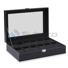 12 Grid Faux Leather Watch Case Jewelry Display Box Jewellery Glass Gift Storage