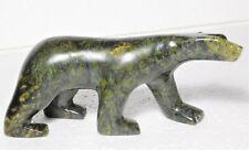 "Inuit Eskimo serpentine carving sculpture ""Walking Bear"" by ᔭᓂ (Johnny)"