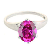 1.65 Carat Real 14KT White Gold Oval Cut Natural Pink Tourmaline Solitaire Ring