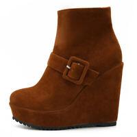 Women's Elegant High Platform Ankle Boots Zip Wedge High Heel Booties Chic Shoes