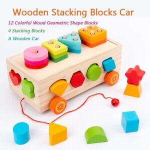 Wooden Puzzles for Toddlers Car Shape Sorting Game Educational Toys Montessori
