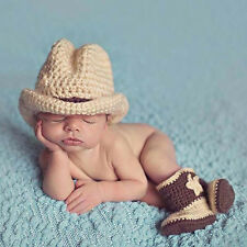 4a13af80208 Nice Baby Boys Crochet Knit Costume Cowboy Hat Boots Pography p Hot Sale