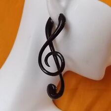 Music Note Fake Gauge Earrings Carved Black Horn Jewelry Gift for Musician Clef