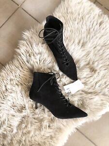 Zara Black Suede Leather Lace Up Kitten Heel Boots UK4 EU37 US7 # 738