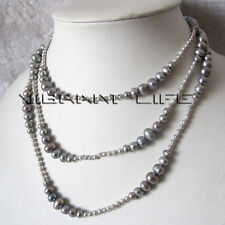 "50"" 3-8mm Gray Graduated Freshwater Pearl Strand Necklace Fashion Jewelry U"