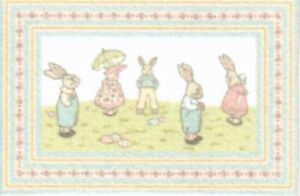 "Dollhouse Miniature Bunny Parade Children Room Accent Rug 2 3/4"" x 1 3/4"" RG215"