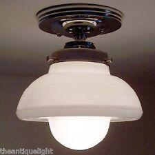 726 VINTAGE aRT DeCO 40's 50's Glass CEILING LIGHT LAMP Fixture  bath kitchen