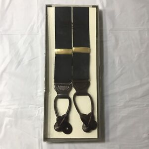 NEW Trafalgar Woven Suspenders Leather Button Classic Navy & Maroon