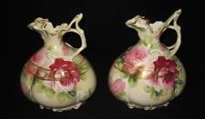 Nippon Hand Painted, Maple Leaf Old Mark, Roses, Jug, Urn, Vase, SET OF 2