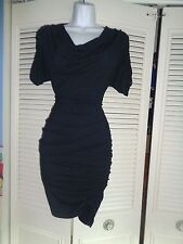 WORTH NAVY RUCHED SIDE ELASTIC JERSEY KNIT BODYCON STRETCH DRESS SZ P $428