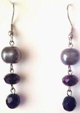 "Purple Gray Grey Pearl Crystal Bead Long Drop Dangle Earrings Crystal 2""L"