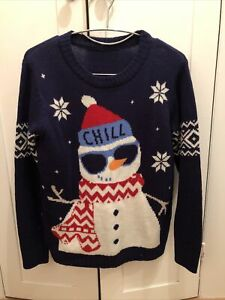 Xmas Jumper Age 12/13 Blue With Snowman