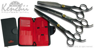 """Kenchii Grooming Bumble Bee Shears 8"""" Choose Straight or Curved, 44 Teeth or Set"""