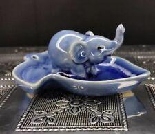 Blue Elephant On A Leaf Incense Holder Ash Catcher Burner Gift Ornament