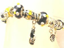 Charm Bracelet Black and Yellow colored Beads ceramic and Metal SHIP FREE U.S.