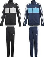 Adidas Tiberio TrackSuit Kids Boys Junior Sport Football Jacket Pants Black Navy