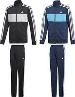 Adidas Tiberio TrackSuit Kids Boys Junior Sport Football Jacket Pants Black Navy