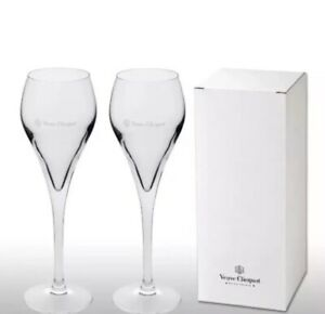 Veuve Clicquot Crystal Champagne Glass Flutes  X 2  Boxed